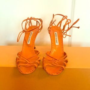 Manolo Blahnik Orange Strappy Heels